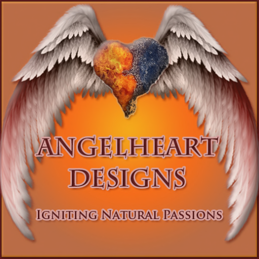 "Angelheart Designs Logo with tagline ""Igniting Natural Passions"""