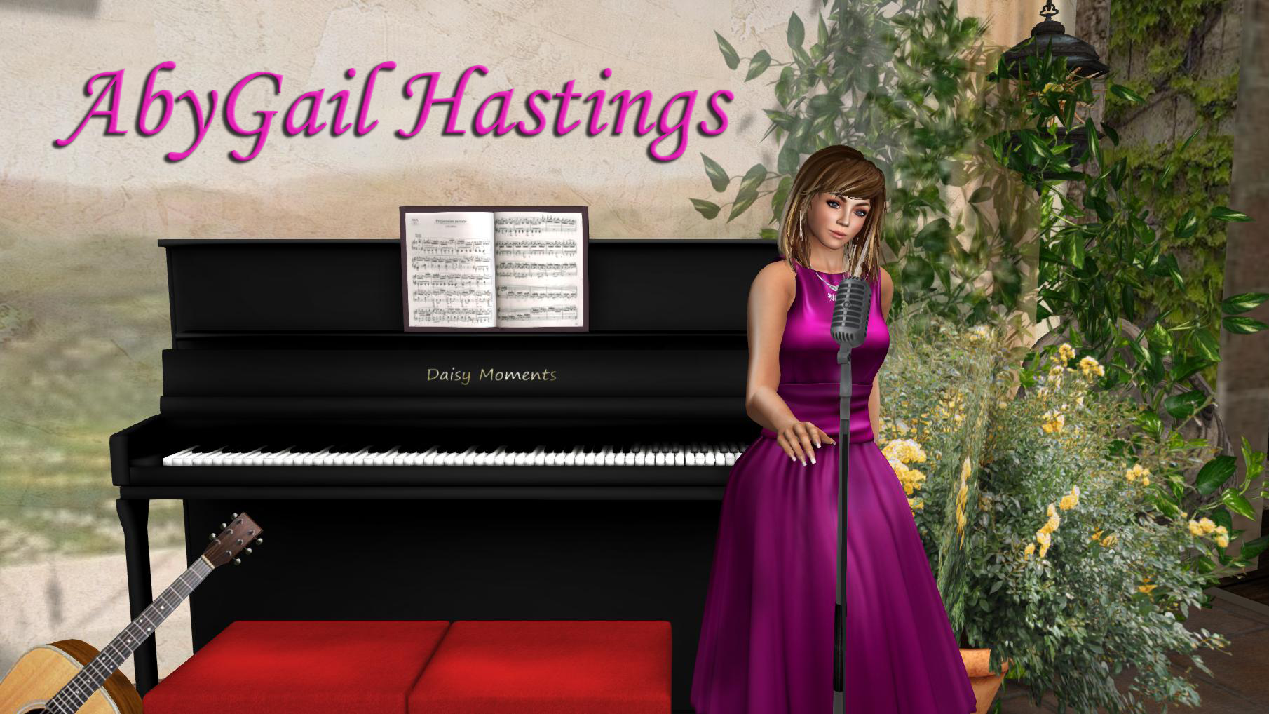 Photo of Aby singing at a microphone in front of a piano with text AbyGail Hastings