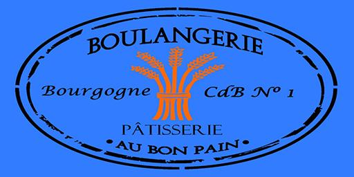 Boulangerie Pâtisserie logo showing a bundle of wheat with tagline Bourgogne CdB No 1 and Au Bon Pain