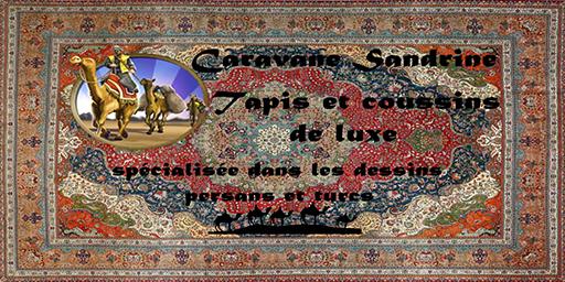 """Caravane Sandrine logo with tagline """"Tapis et coussins de luxe - spécialisée dans les dessins persans et turcs"""""""