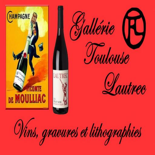 Gallérie Toulouse Lautrec logo with tagline Vins, gravures et lithographies