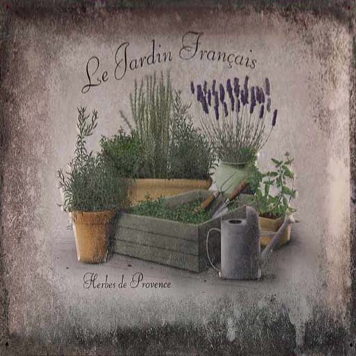 "Le Jartin Français logo featuring the name of shop, artwork featuring various herbs and the text ""Herbes de Provence""."