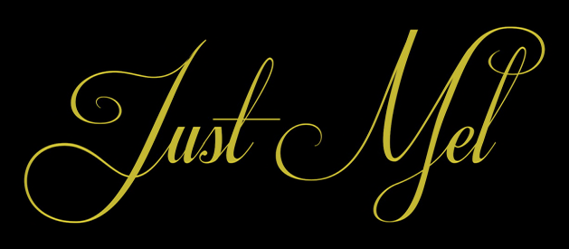 Just Mel Logo - gold stylized letters on a black background