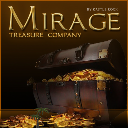"Mirage Treasure Company logo with tagline ""by Kastle Rock"""