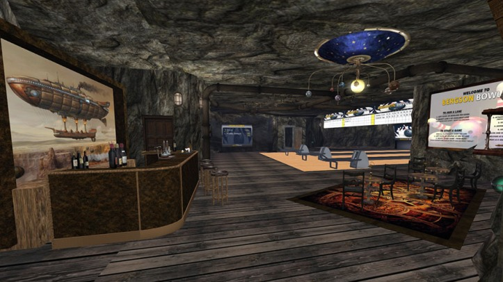 A picture of the bowling area in a cave in Aquitaine - Ville de Coeur with the lanes, a bar, tables and chairs. The scene is dark with Steampunk style decorations including an orrery suspended from the ceiling.